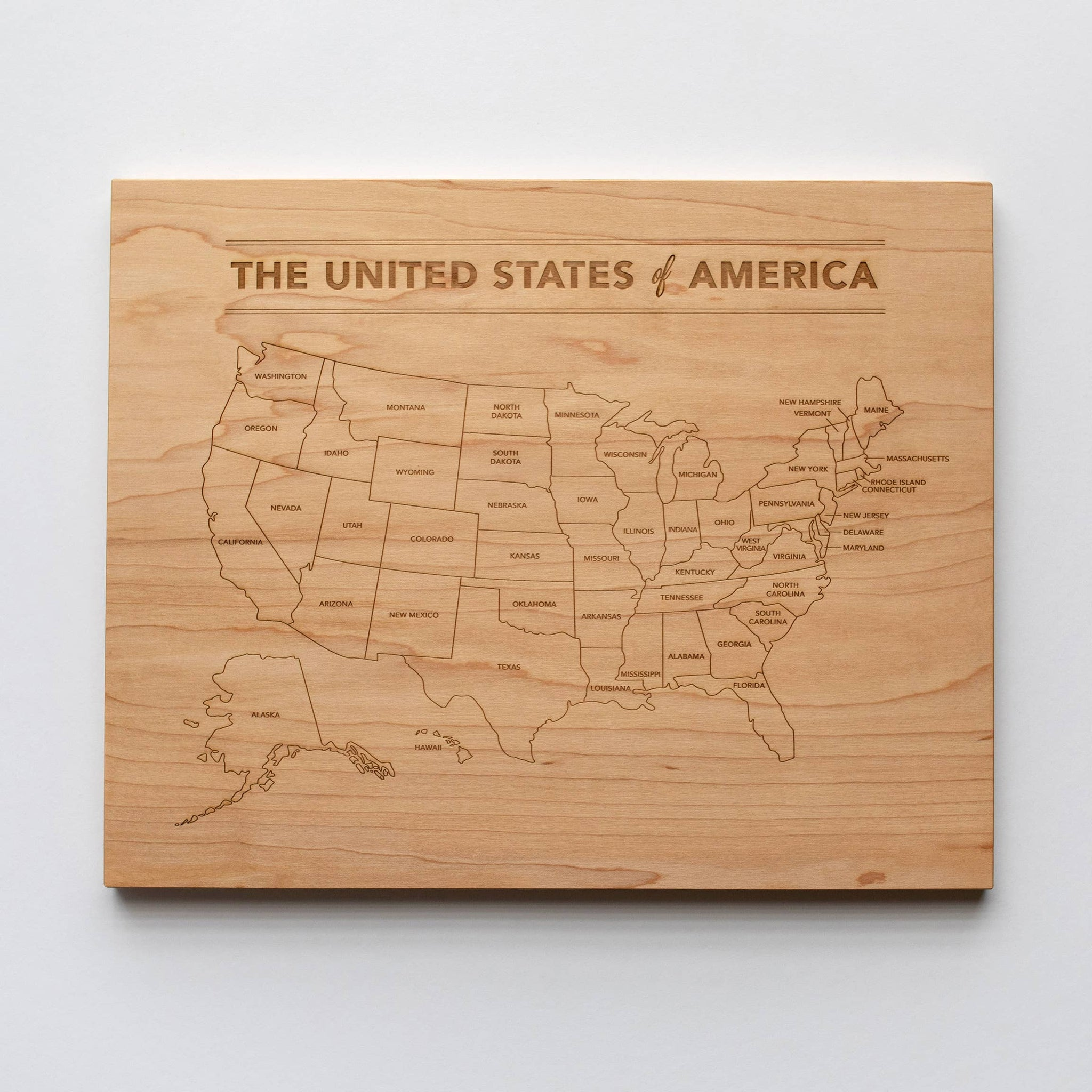 Wooden United States Map • Engraved Modern Map of USA