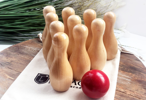 Bowling Set - Natural Wood and Red Ball