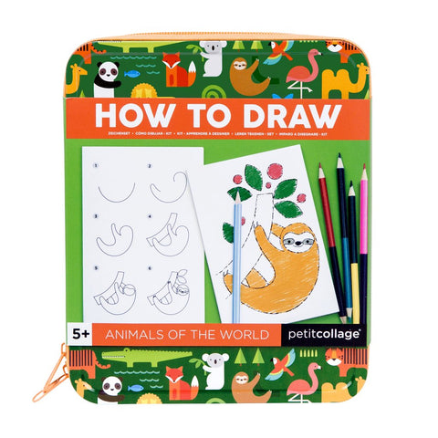 Petit Collage How to Draw Travel Activity Kit - Animals of the World