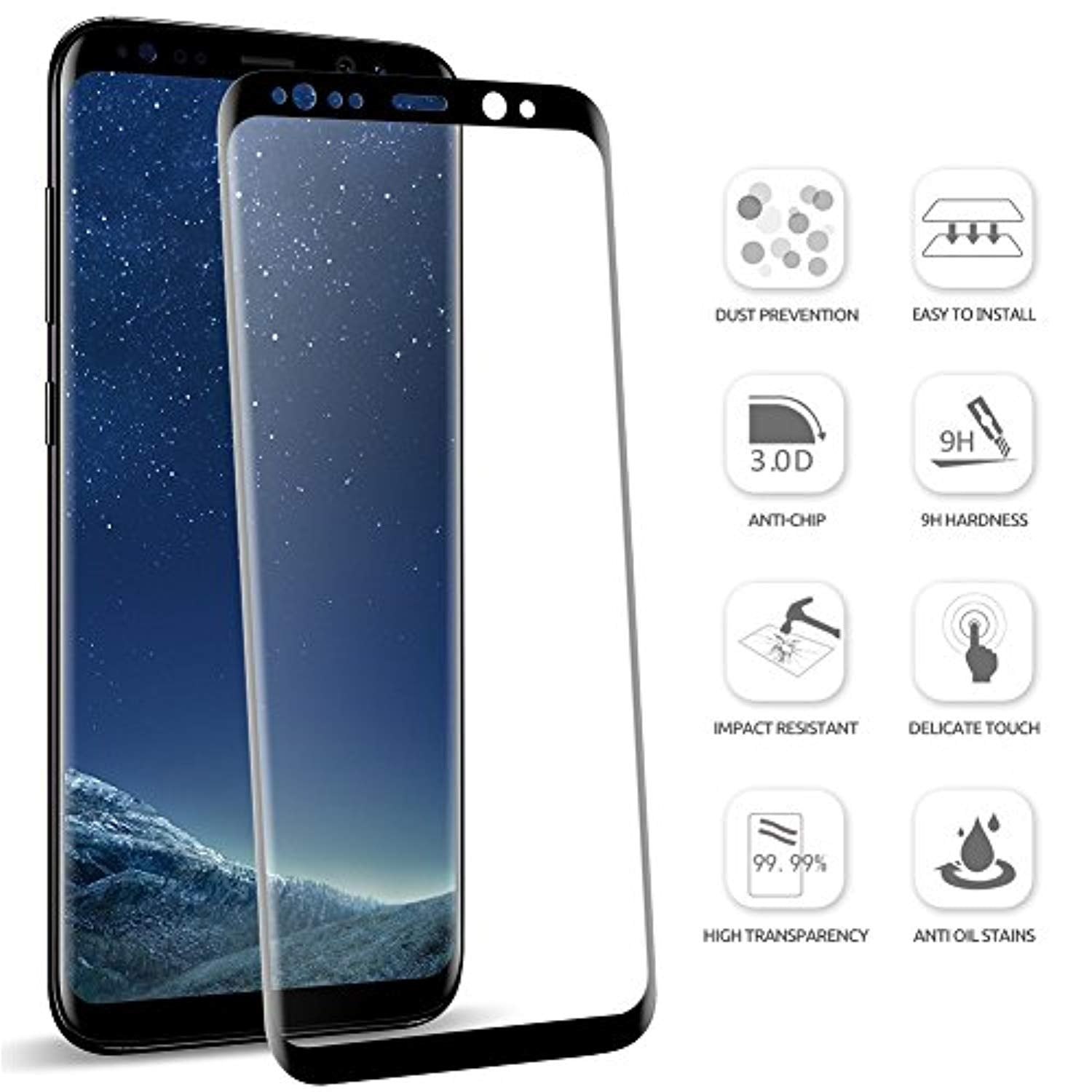 Load image into Gallery viewer SUPTMAX Screen Protector Glass for Galaxy S8 [Full Coverage