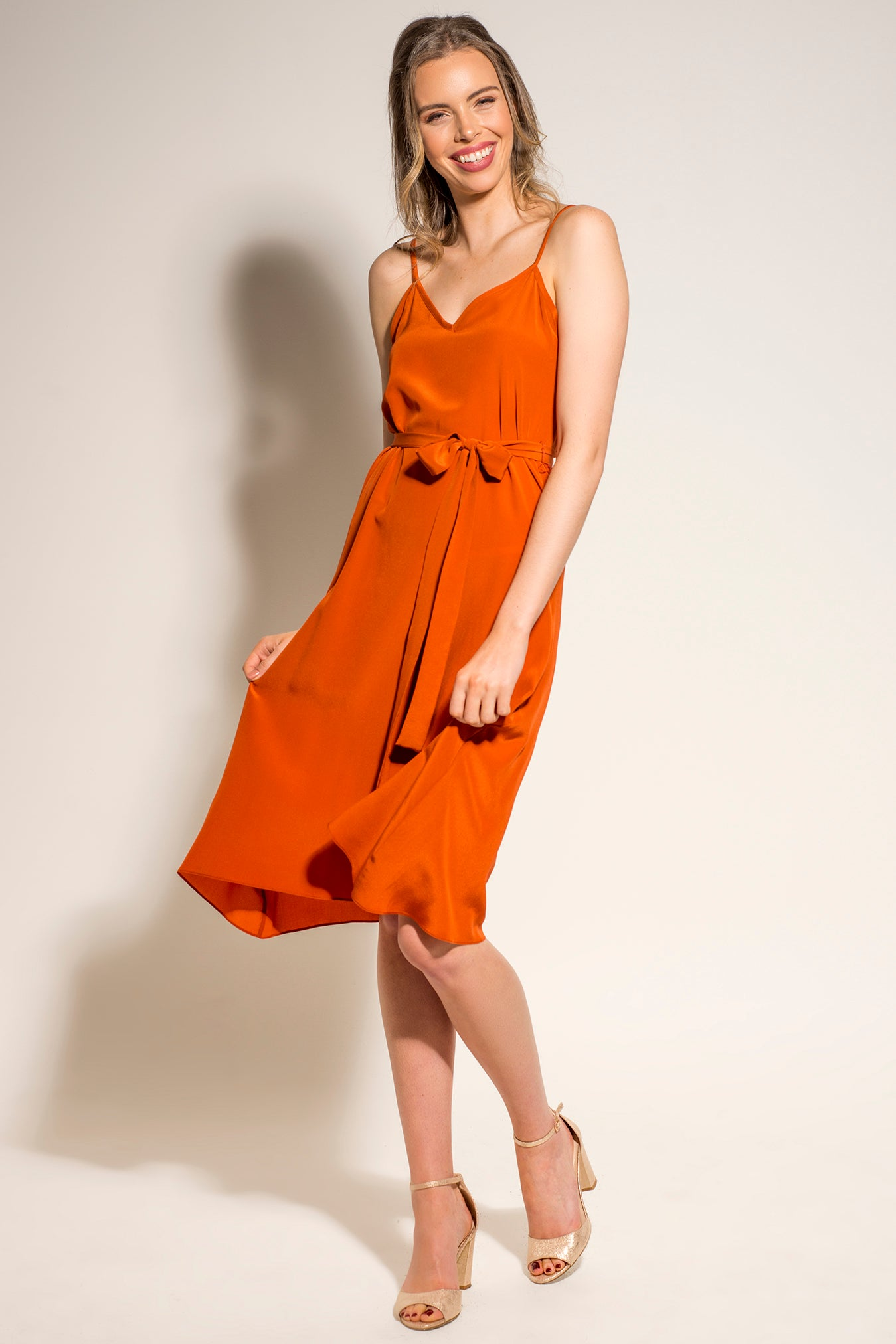Hilary Dress - Burnt Orange Silk