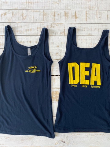 "Women's DEA ""Drink Every Afternoon"" Tank Top, Navy"