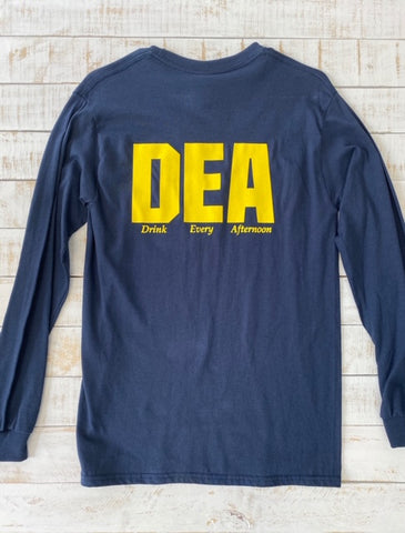 "Long Sleeve DEA ""Drink Every Afternoon"" Shirt, Navy"