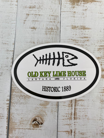 Old Key Lime House Bonefish Logo Sticker, White