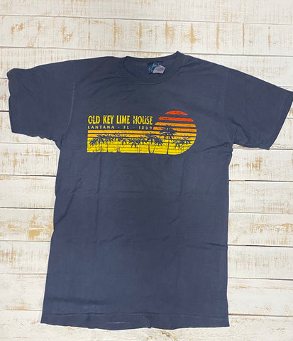 Short Sleeve Retro Palm Sunset T-shirt, Navy
