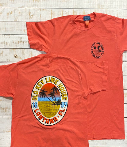 Short Sleeve Oval Sunset T-shirt, Bright Salmon