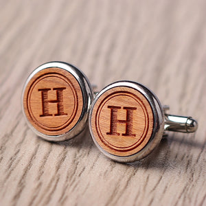 Groomsman Gift, Monogram Groomsmen Cufflinks, Personalized Cufflinks for Groomsmen, Engraved Wood Cuff Links - kov-well