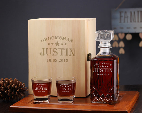 Unique Groomsman Gifts Idea, Personalized Whiskey Decanter Box - kov-well