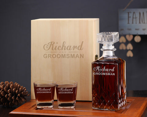 Personalized Groomsman Whiskey Decanter Gift Set - kov-well