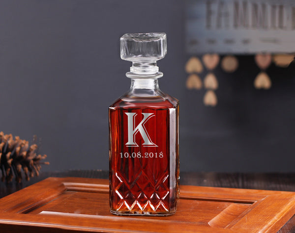 Personalized Groomsman Gift, Whiskey Decanter Gift Set - kov-well
