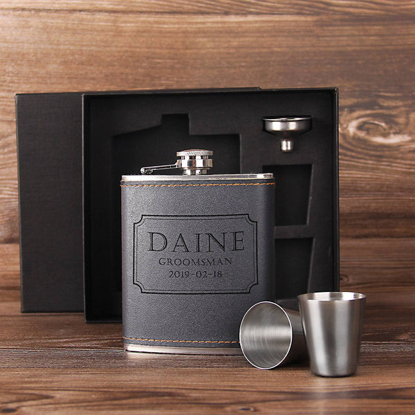 Engraved Groomsman Gift - Personalized Whiskey Flask - Groomsmen Gift Ideas - Gift for Him - kov-well