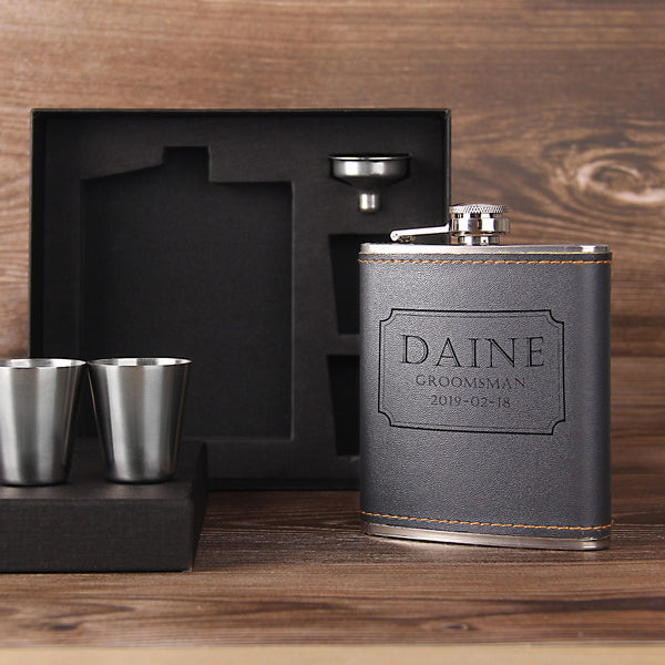 Personalized Groomsmen Gift - Engraved Whiskey Flask Gift Set - Gift for Him - Groomsmen Flask Gift Set - kov-well