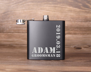 6oz Steel Whiskey Flask - Groomsmen Gift - Best Man Gift - Engraved Whiskey Flask, Gift for Groomsman - kov-well
