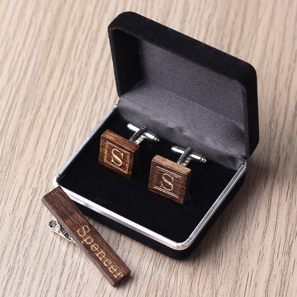 Personalized Groomsmen Cufflinks Tie Clip Set, Groomsmen Gifts, Wedding Cuff Links Set - kov-well