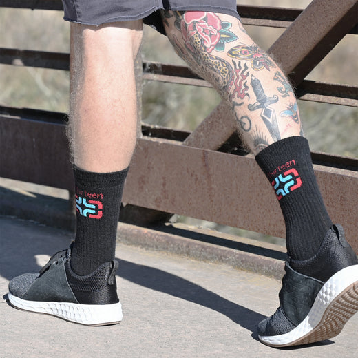 e*thirteen Merino Wool Icon Logo Socks
