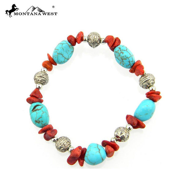 SB056 TQ Beads With Chips Stretch Bracelet