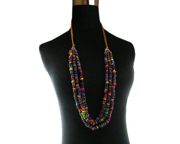 NKS170714-03   3 String Multi Color Shell Necklace  with Half Suede Cord