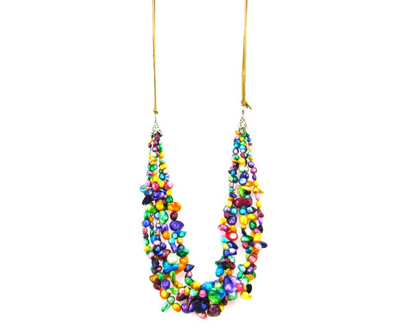 NKS170714-04   5 String Multi Color Real Mother of Pearll Necklace  with Half Suede Cord