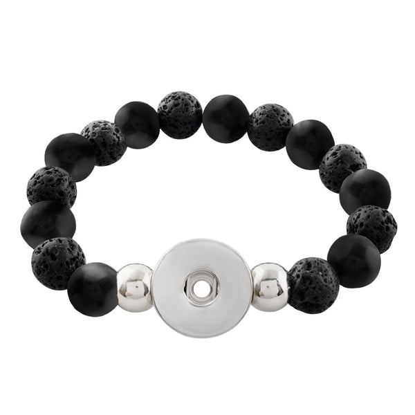 New Arrival Black Stone and Lava Rock Sandy Snap Bracelet