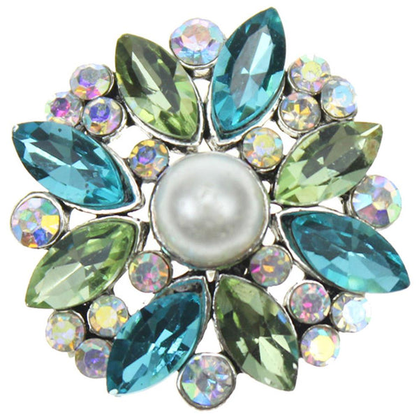 Green Blue Clear Crystal with Pearl Sandy Snap Button GJS8126