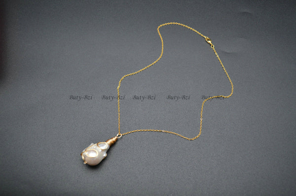 Unique Natural Pearl Barqoue Drop Pendant Wire Wrapped Necklace