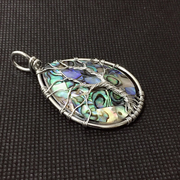Big Size Natural Mother of Pearl Abalone Shell Pendants Handmade Wire Wrapped