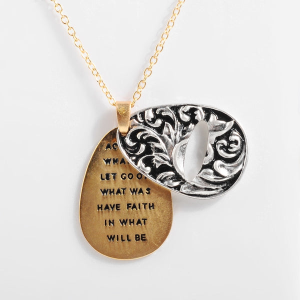 Sunflower Double-layer Pendant Necklace With a Message