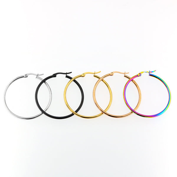 Affordable Hoop Earrings Many Sizes in Stainless Steel in Gold/Rose Gold/Silver/Black/ and Rainbow Colors