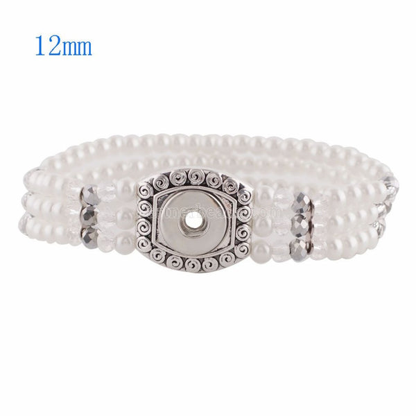 Stretchable White Pearl Three Strand Sandy Snap Bracelet