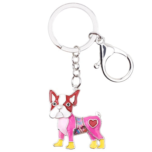Enamel Pug Dog Key Chain Key Ring