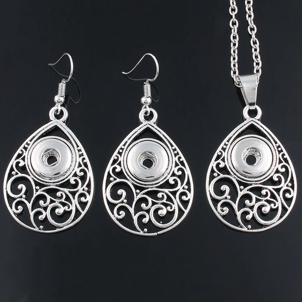 Sandy Snap 12mm Filigree Teardrop Necklace and Earring Snap Jewelry ZG091