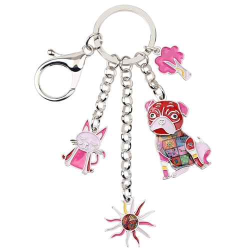 Enamel Metal Cat combo sunburst, pug dog and tree keychain