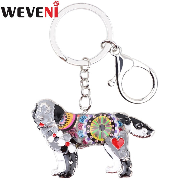 WEVENI Enamel Metal Newfoundland Dog Key Chain Key Ring For Women Charm New Fashion Animal Jewelry Keychain Accessories