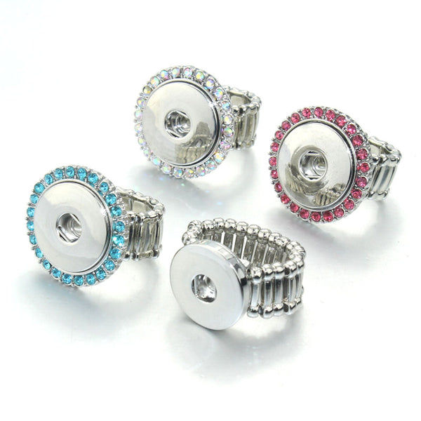 Sandy Snap Ring Vintage Crystal Elastic Adjustable Snap Ring 8140