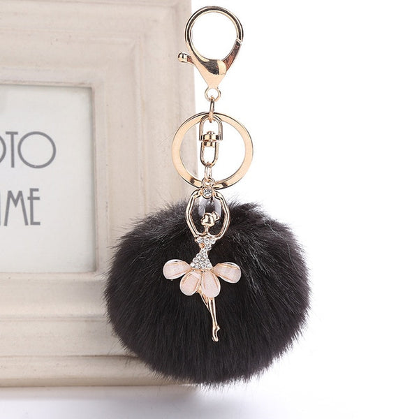 Ballerina Fake Rabbit Fur Ball KeyChain Pompom