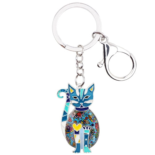 Floral Elegant Kitten Cat Key Chains