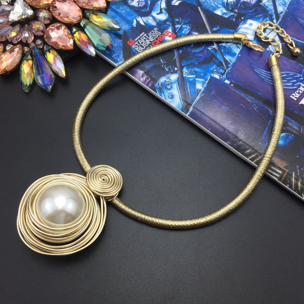 Handmade Wrap Wire Simulated Pearl Necklace