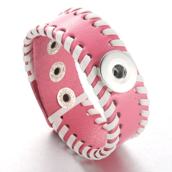 Pink Sandy Snap Leather Bracelet Handmade Braided Leather 4397
