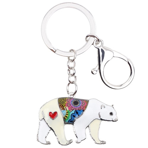 Enamel Floral Sea Polar Bear Key Chain With a Heart