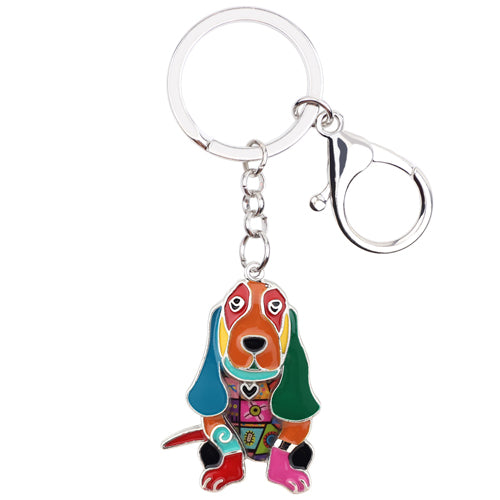 Bonsny Enamel Metal Basset Hound Dog Key Chains Keychain Keyrings Jewelry For Women Girls Pendant Bag Car Charms Cute Accessory