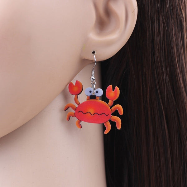 Original Acrylic Drop Dangle Crab Print Earrings Ocean Jewelry