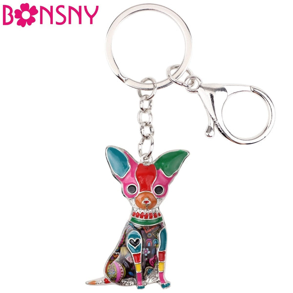Statement Enamel Sitting Chihuahua Dog Keychain Animal Jewelry For Charms