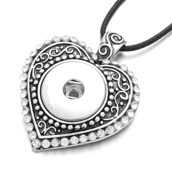 New Heart 18mm Sandy Snap Pendant Necklaces