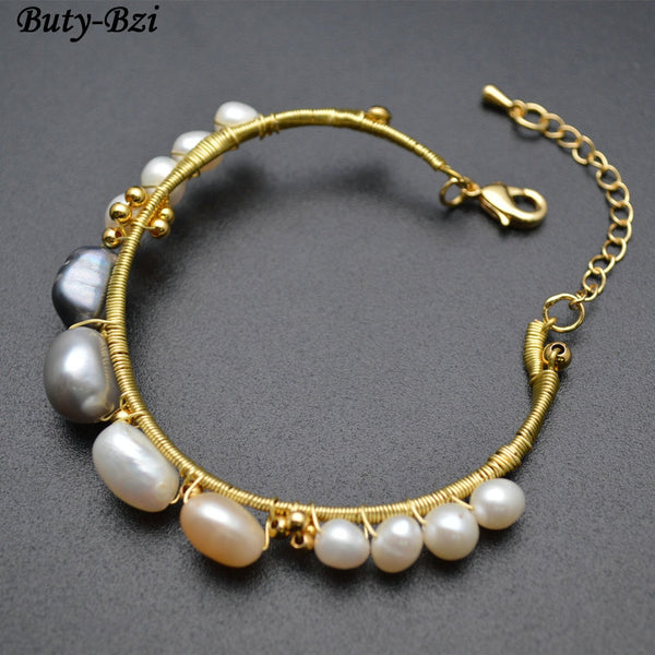 Handmade Wire Wrapped Natural Fresh Water Pearl Bracelet