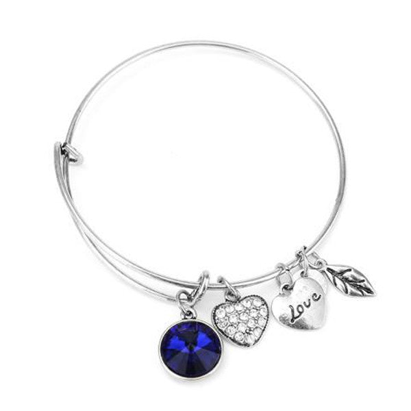 September Birthstone Charm Bangle