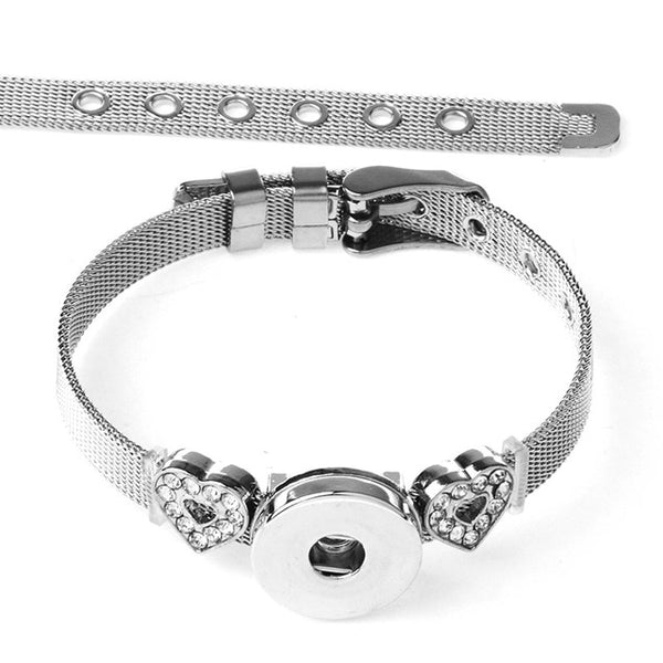 New Stainless Steel Heart Charms on Sandy Snap Bracelet