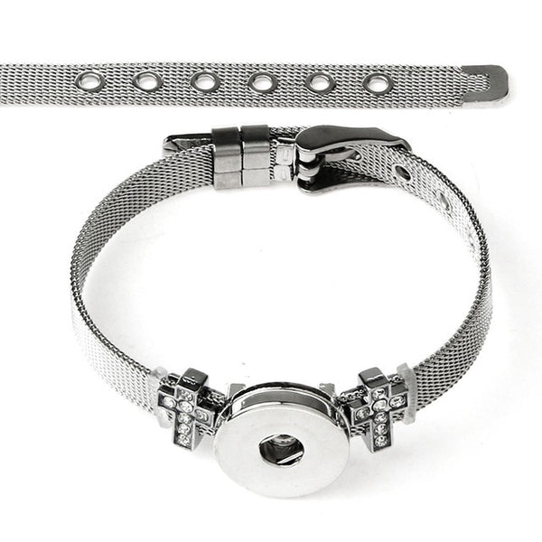New Stainless Steel Cross Charms on Sandy Snap Bracelet