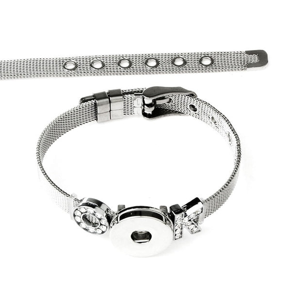 "New Stainless Steel ""OK"" Charms on Sandy Snap Bracelet"