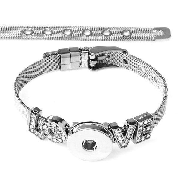 New Stainless Steel Love Charms on Sandy Snap Bracelet