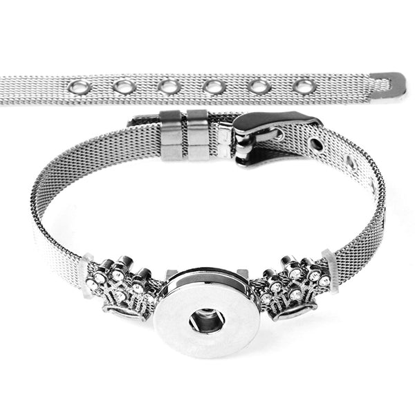 New Stainless Steel Crown Charms on Sandy Snap Bracelet